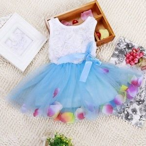 Other - Beautiful Baby Blue Rose Petal Dress 2T